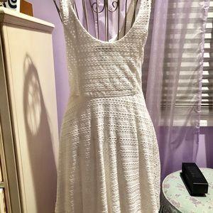 Aqua white crochet fit n flare dress size Small